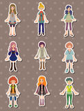 Cartoon girl stickers Royalty Free Stock Photo