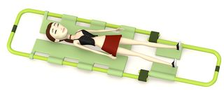 Cartoon girl on stretcher Royalty Free Stock Photos
