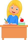 Cartoon girl studying Royalty Free Stock Photo