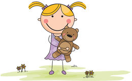 Cartoon Girl with Stuffed Animal in Field Royalty Free Stock Photo