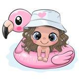 Cartoon Girl Swimming On Pool Ring Inflatable Flamingo Stock Photography