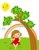 Cartoon girl swinging. Illustration of cartoon girl swinging Stock Photo