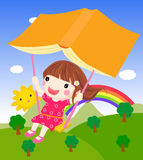 Cartoon girl swinging and book Royalty Free Stock Photography