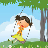 Cartoon girl swinging