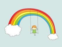 Swinging. Cartoon girl swinging on a rainbow Stock Photos