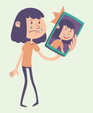 Cartoon Girl Taking a Photo Royalty Free Stock Image