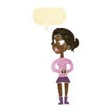 Cartoon girl talking with speech bubble Royalty Free Stock Photography