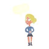 Cartoon girl talking with speech bubble Stock Photo