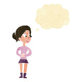 Cartoon girl talking with thought bubble Stock Images