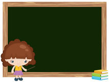Cartoon of girl teaching on blackboard Stock Photo