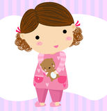 Cartoon girl with teddy bear Royalty Free Stock Photo