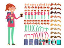 Cartoon girl teenager in casual clothes. Vector creation constuctor with big set of woman body parts stock illustration