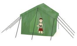 Cartoon girl with tent Stock Photos