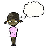 Cartoon girl with thought bubble Stock Photography