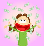 Cartoon girl throwing money Royalty Free Stock Photography