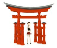 Cartoon girl with torii gate Stock Photo