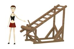 Cartoon girl with tortural ladder Stock Photography