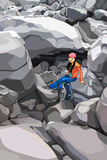 Cartoon girl tourist with a backpack in the rocks Stock Photos