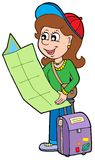 Cartoon girl traveller. Vector illustration Royalty Free Stock Photos