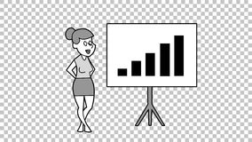 Cartoon Girl Turns The Bar Chart. Hand Drawn Animation. Alpha matte. royalty free illustration