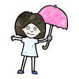 Cartoon girl with umbrella Stock Photography