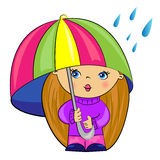 Cartoon girl under umbrella. baby Royalty Free Stock Photos