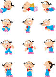 Cartoon girl in various poses Royalty Free Stock Photos