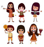 Cartoon Girl Vector Action. And Happy feeling Royalty Free Stock Image