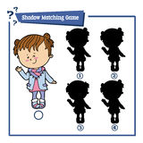 Cartoon girl. Vector illustration of educational shadow matching game with cartoon girl for children Royalty Free Stock Image