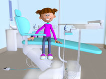 A cartoon girl visiting dentist's office 3d Stock Images