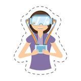 Cartoon girl with vr headset control. Illustration eps 10 royalty free illustration
