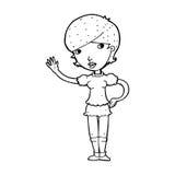 Cartoon girl waving Stock Photos