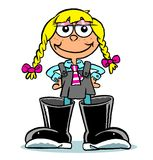 Cartoon girl in wellington boots. Cartoon schoolgirl with blond pigtails wearing oversize wellington boots, white background Royalty Free Stock Image