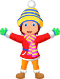 Cartoon a girl in Winter clothes waving hand Stock Images