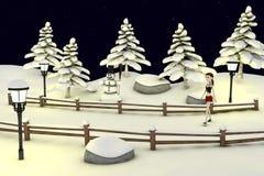 Cartoon girl in winter scenery Royalty Free Stock Image
