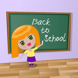 Cartoon Girl wrote chalk Stock Image