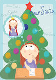 Cartoon girl wrote a letter to Santa. Background Royalty Free Stock Photography