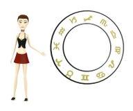 Cartoon girl with zodiac Stock Image