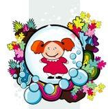 Cartoon girld swimming. Vector cartoon boy swimming illustration Stock Photography