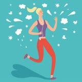 Cartoon girll runner with music Royalty Free Stock Photo