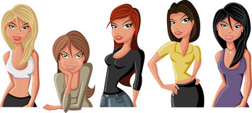 Cartoon girls Stock Images