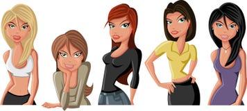 Cartoon girls. Five Beautiful cartoon girls smiling Stock Images