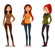 Cartoon girls in autumn fashion Royalty Free Stock Images