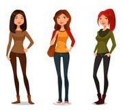 Cartoon girls in autumn fashion stock illustration