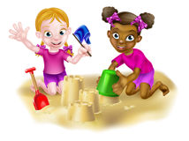 Cartoon Girls Building Sandcastles Royalty Free Stock Photos
