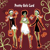 Cartoon girls card fashion Royalty Free Stock Photos