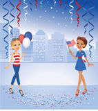 Cartoon Girls celebrating in Red and Blue Colors stock illustration