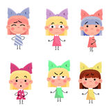 Cartoon girls characters set. Little girls cartoonly set for animation Stock Photo