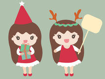 Cartoon Girls Dressed in a Santa Claus Costume Royalty Free Stock Photography