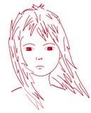 Cartoon girls face. Illustration of  girls face Close up Stock Photography